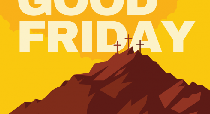 Good Friday Easter Event Social Media Post with Graphic Mountain Illustration